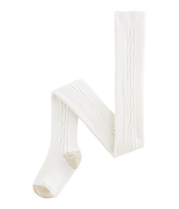 Thermal tights for girls Marshmallow white