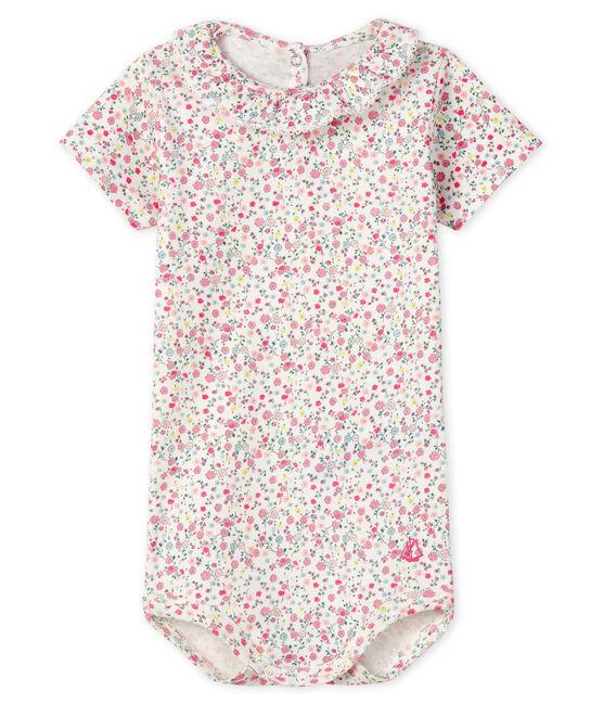 Baby girls' bodysuit with ruff Marshmallow white / Cupcake pink