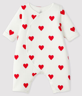 Baby Girls' Long Ribbed Red Heart Jumpsuit Marshmallow white / Terkuit red