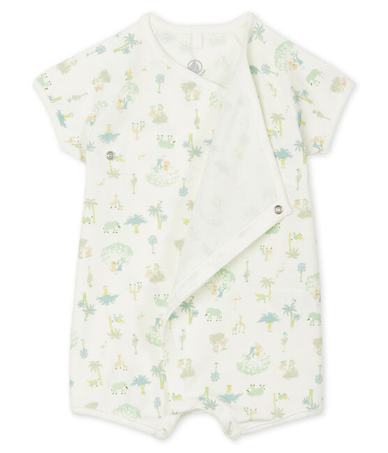 Unisex Baby's Ribbed Playsuit Marshmallow white/Amandier green