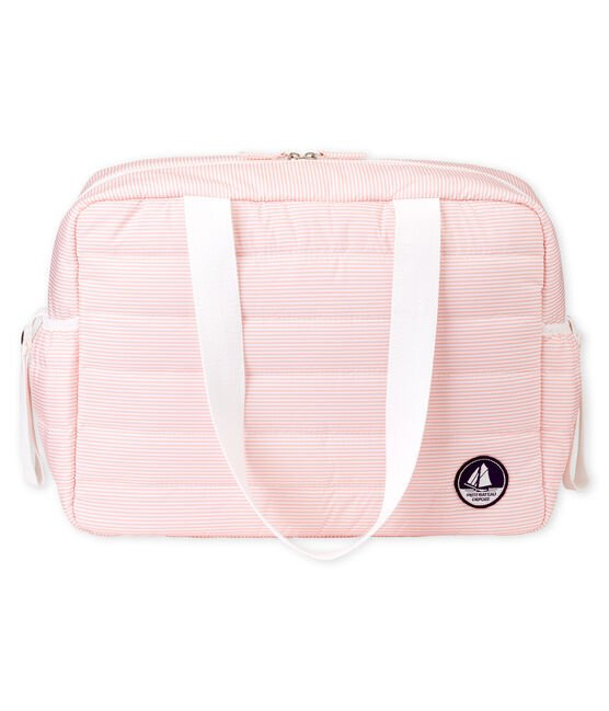 Unisex baby pinstriped changing bag Rosako pink / Marshmallow white