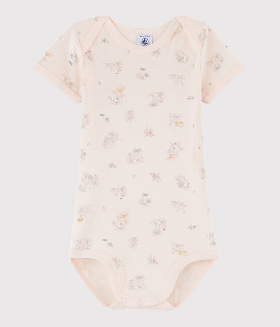 Baby Girls' Short-Sleeved Bodysuit Fleur pink / Multico white