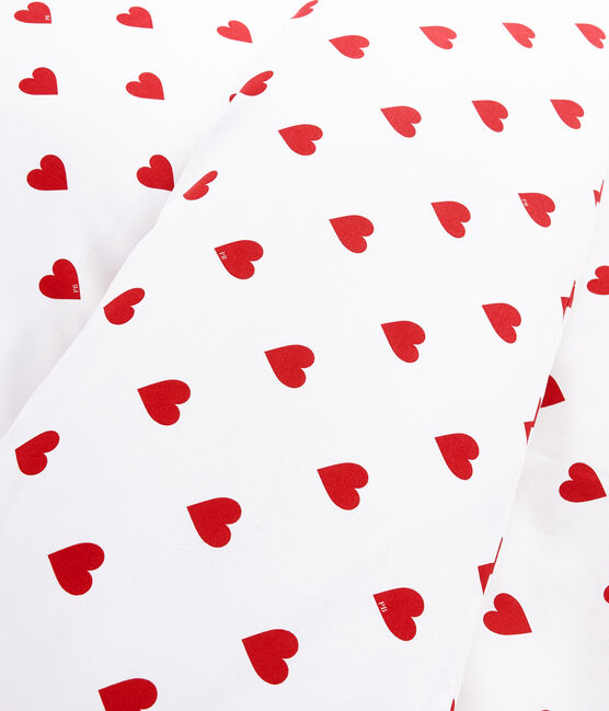 Red Heart Pattern Poplin Cot Bumper Marshmallow white / Terkuit red