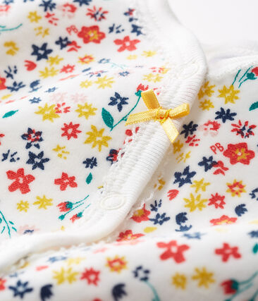 Baby Girls' Velour Sleepsuit Marshmallow white / Multico white