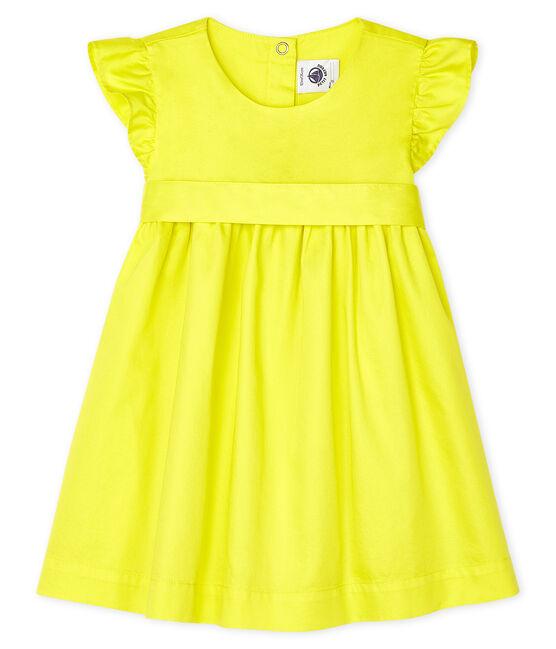 Baby Girls' Satin Short-Sleeved Dress Eblouis yellow
