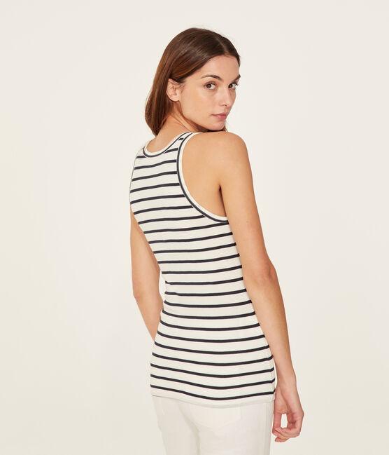 Women's sleeveless top Marshmallow white / Smoking blue