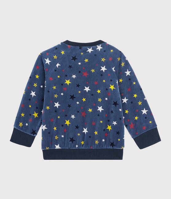 Baby boy's velour sweatshirt Medieval blue / Multico white