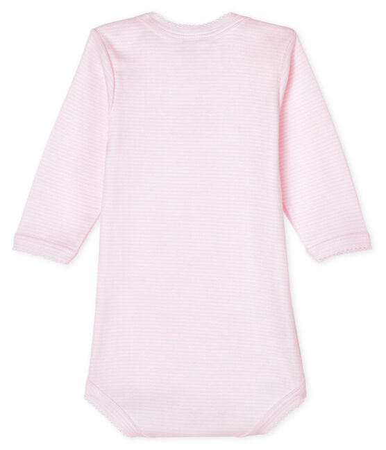Baby girls' long-sleeved bodysuit Pearl pink / Multico white