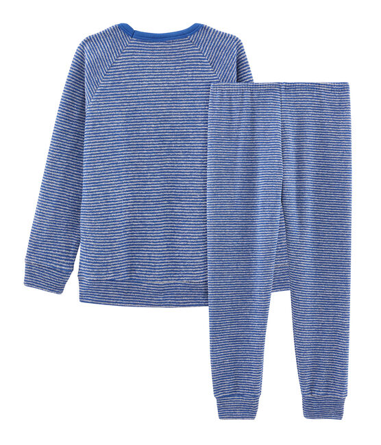 Boys' Pyjamas in Extra Warm Brushed Terry Towelling Major blue / Subway grey