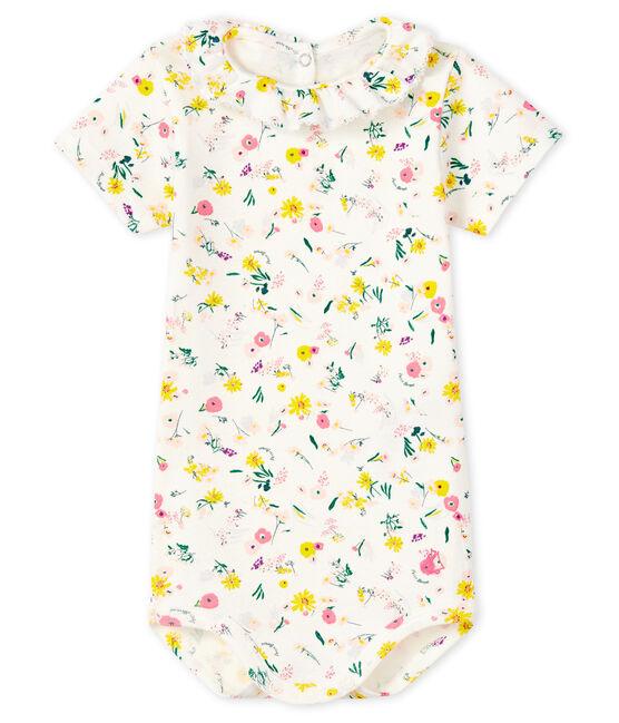 Baby girls' bodysuit with ruff Marshmallow white / Multico white