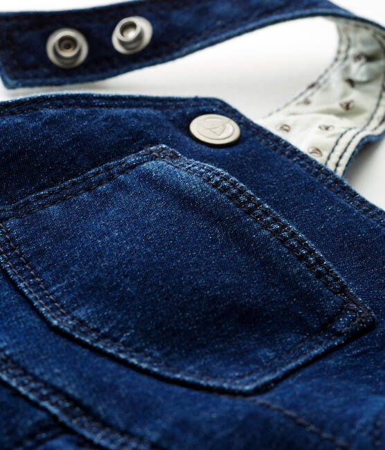 Unisex baby long dungarees in denim look jersey Medieval blue / Ecru Cn beige