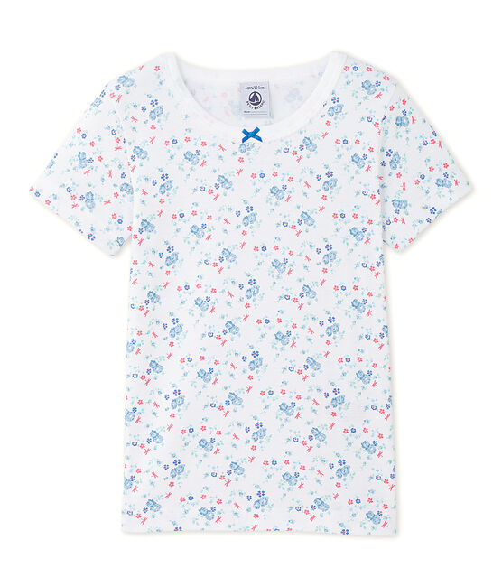 Girl's printed T-shirt Ecume white / Bleu blue