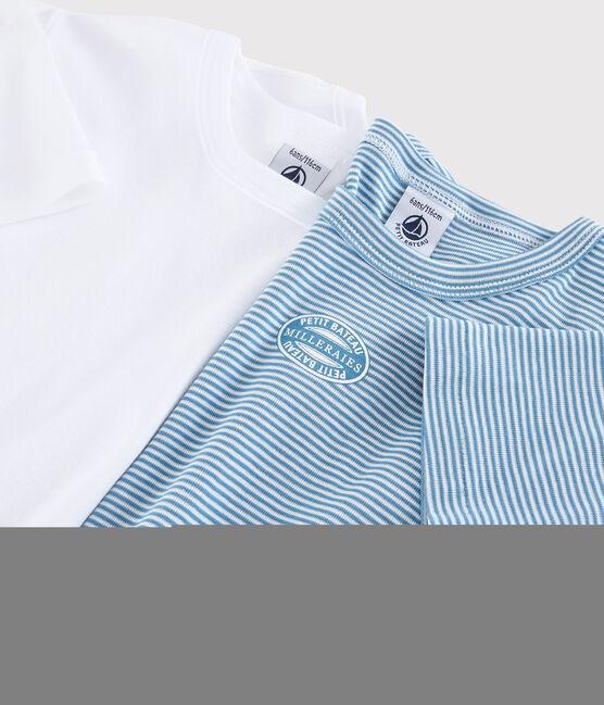 Boys' Blue Short-Sleeved Pinstriped Organic Cotton T-shirt - 2-Pack . set