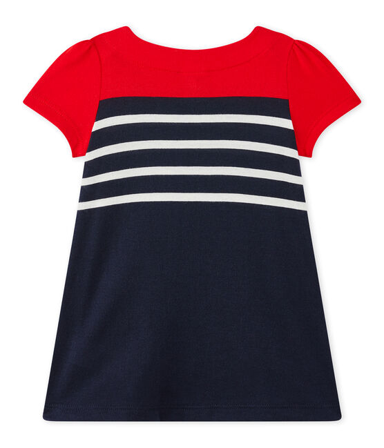 Baby girl's striped dress Smoking blue / Multico white