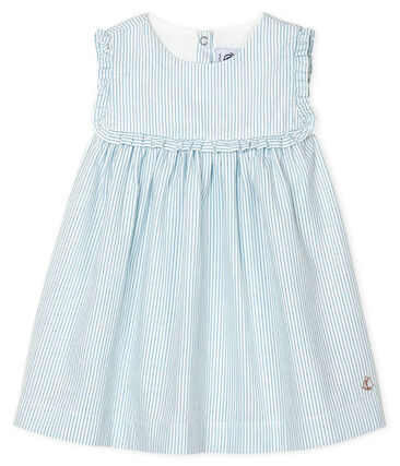 Baby Girls' Sleeveless Striped Dress Marshmallow white / Acier blue