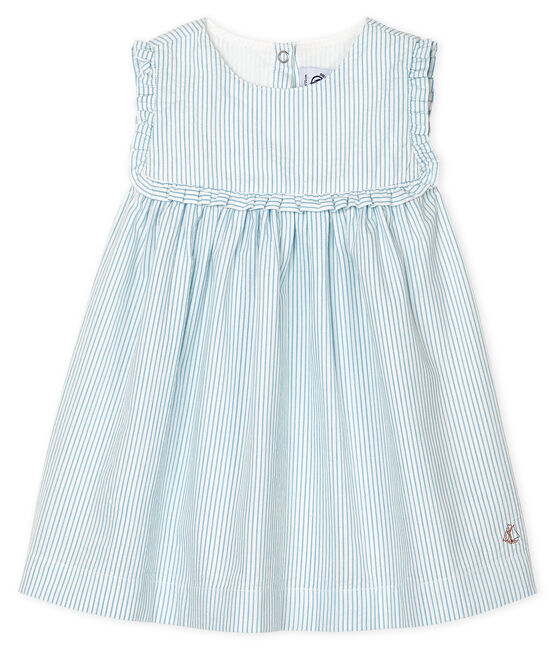 Baby Girls' Sleeveless Striped Dress Marshmallow white / Acier blue