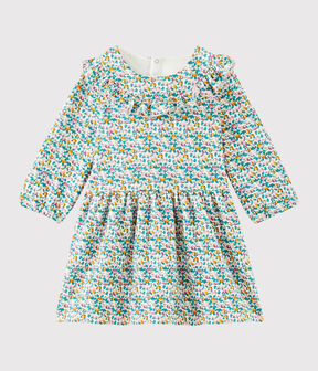 Baby girl's long-sleeved dress Marshmallow white / Multico white