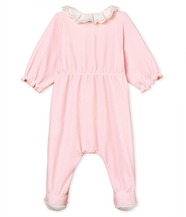 Baby girls' sleepsuit in cotton velour Vienne pink