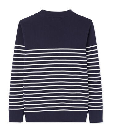 Men's Sailor Pullover with Stripe Design Smoking blue / Lait white