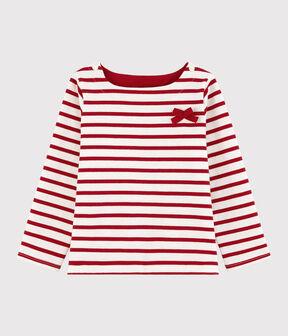 Girls' Jersey Breton Top Marshmallow white / Terkuit red