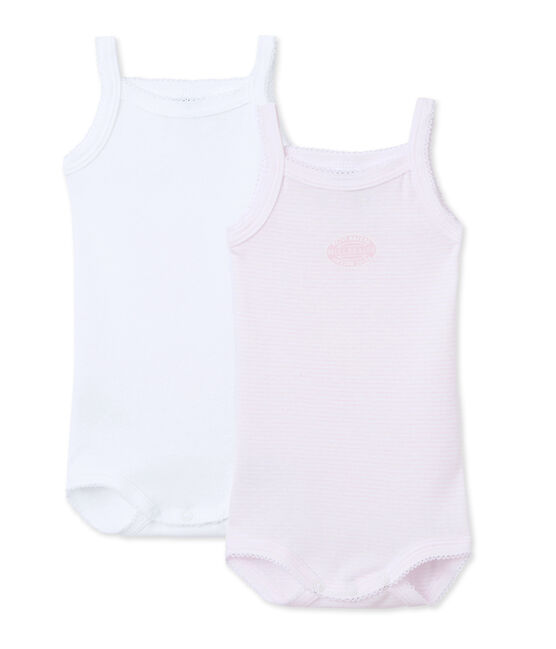 Pack of 2 baby girl bodysuits with straps . set