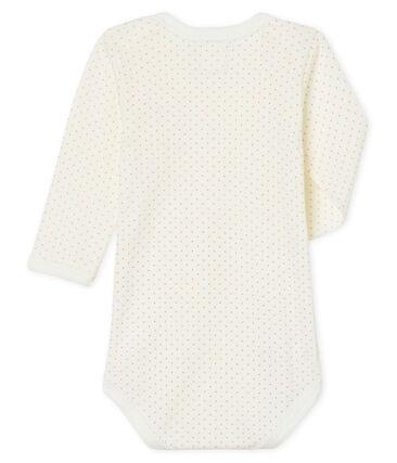 Baby Girls' Long-Sleeved Bodysuit Marshmallow white / Charme pink