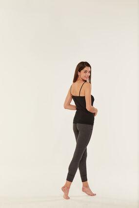 Women's lightweight cotton shirt with straps Noir black