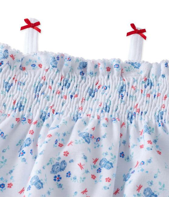 Baby girl's print romper Ecume white / Bleu blue