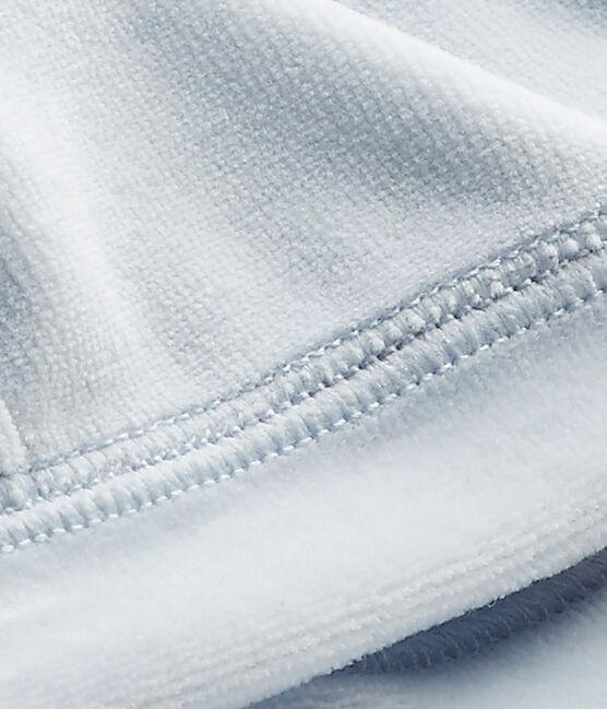 Newborn baby's unisex velours beanie cap Fraicheur blue