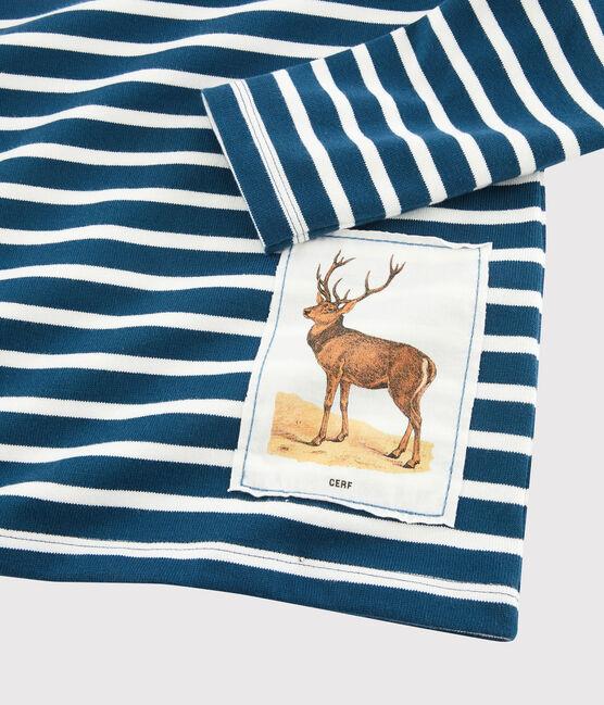 Petit Bateau x Deyrolle Boys' Breton Top Shadow blue / Marshmallow white
