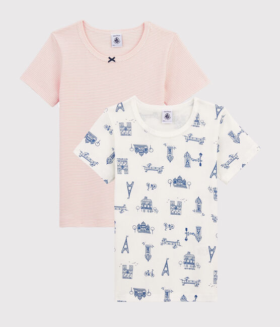 Girls' Paris Print Short-sleeved T-Shirt - 2-Piece Set . set