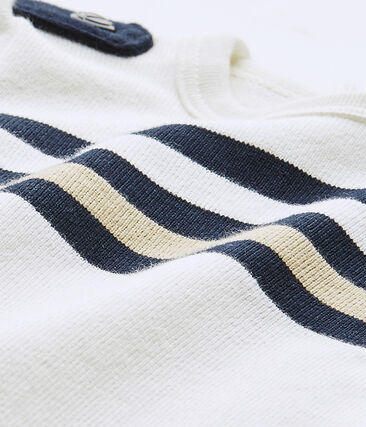 Baby boy's short-sleeved striped romper
