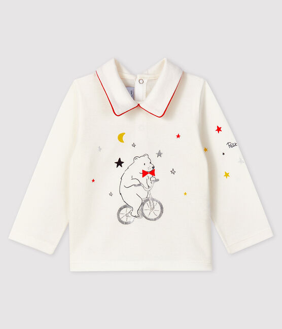 Baby boy's t-shirt with polo collar Marshmallow white