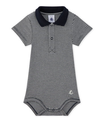 Baby boy's bodysuit with striped collar
