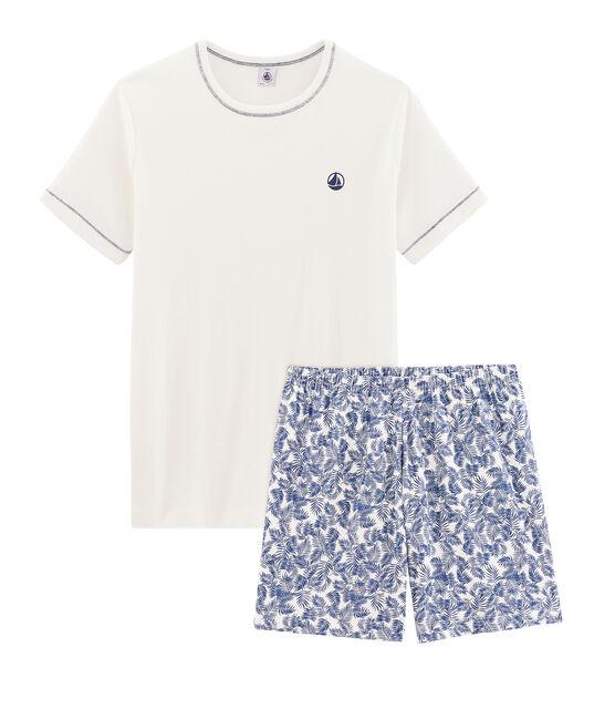Boys' Ribbed Short Pyjamas Marshmallow white / Medieval blue