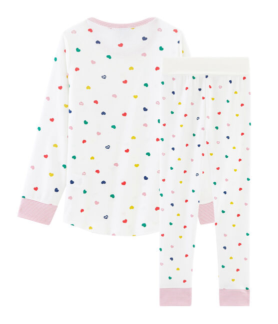 Girls' High-Rise Ribbed Pyjamas Marshmallow white / Multico white