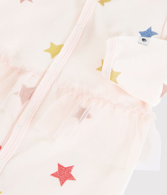 Baby Girls' Starry Velour Sleepsuit Fleur pink / Multico white