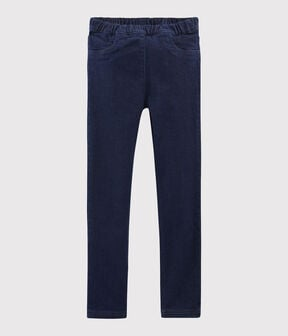 Girls' Denim Slim-Fit Trousers Denim Bleu Fonce blue