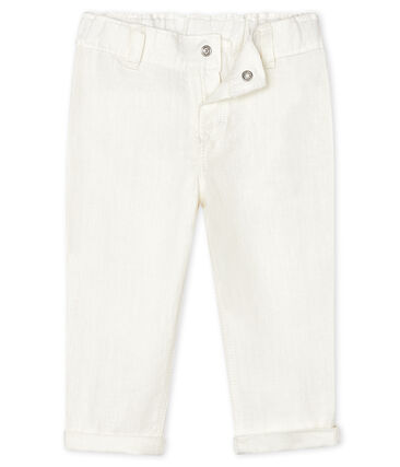 Baby Boys' Linen Trousers Marshmallow white