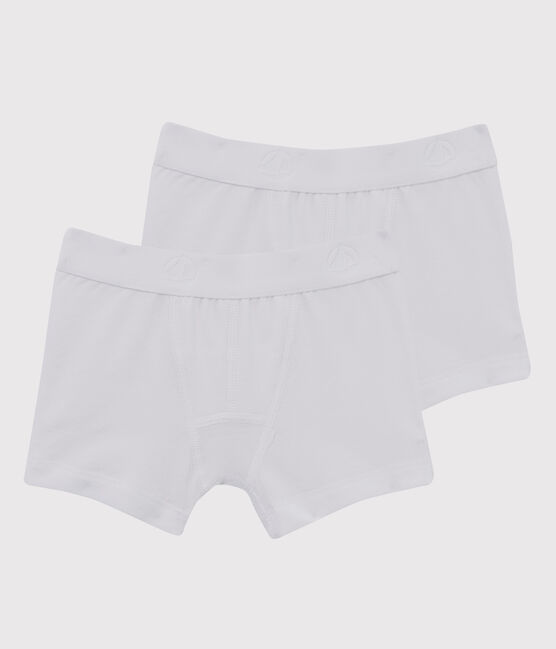 Set of 2 little boys' plain white boxer shorts . set