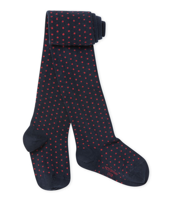 Girl's polka dot tights Smoking blue / Froufrou red