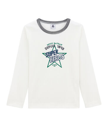 Little boy's long sleeved T-shirt Marshmallow white