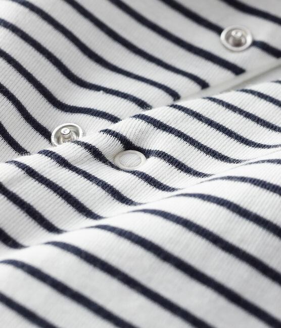 Unisex Baby Long Hooded Jumpsuit Marshmallow white / Smoking blue