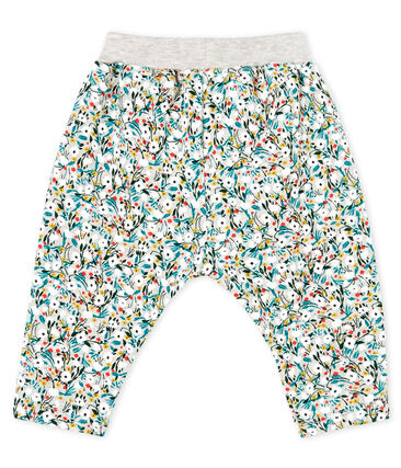 Baby Girls' Printed Fleece Trousers Beluga grey / Multico white