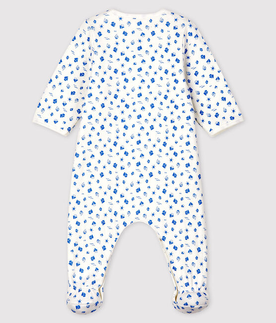 Babies' Boat Print Organic Cotton Tube Knit Bodyjama Marshmallow white / Cool blue