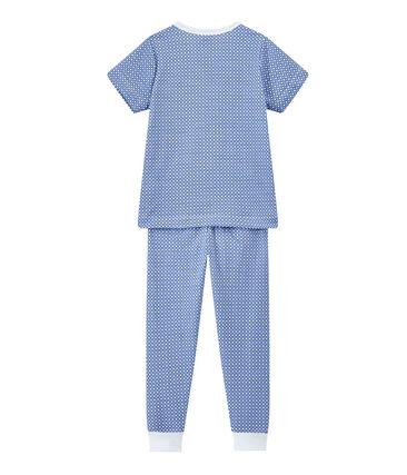 Boy's short-sleeved double knit pyjamas Ecume white / Perse blue