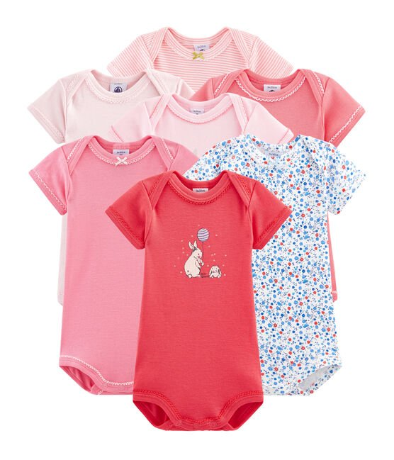 Surprise pack of 7 short-sleeved bodysuits for baby girls . set