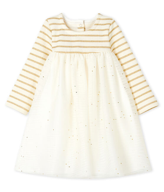 Baby Girls' Long-Sleeved Dual Material Dress Coquille beige / Lurex Dore yellow