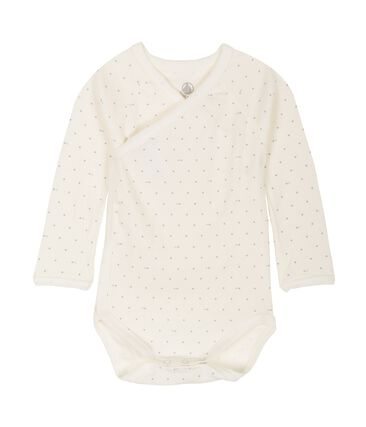 Newborn Babies' Long-Sleeved Bodysuit Marshmallow white / Acier blue