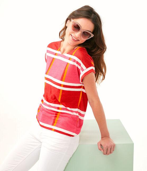 Women's Linen T-Shirt Geisha pink / Multico white